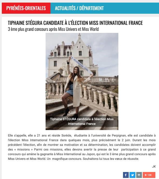 Tiphaine Stégura candidate pour Miss International France 2019
