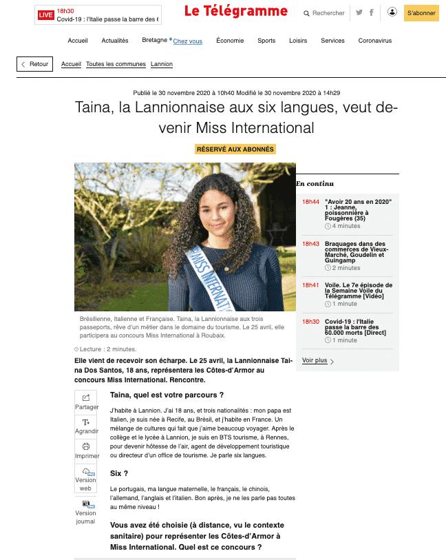 Miss International Bretagne Cote d'Armor